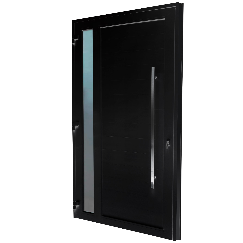 Porta de abrir 1 folha lambri preta com vidro 98 x 215 com puxador inox de 100cm - fechadura monoponto ( lado esquerdo) - Sociale