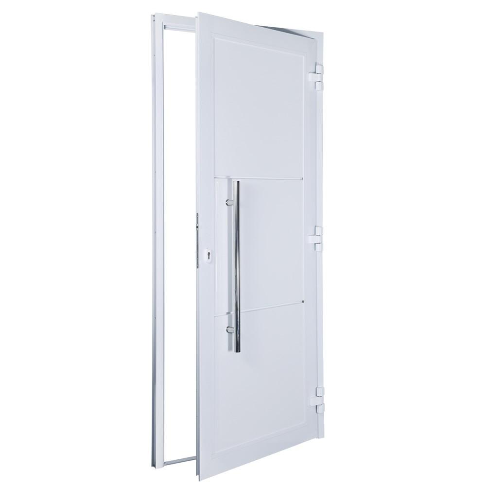 Porta de abrir 1 folha lambri 120 x 215 com puxador padrão inox de 100cm - fechadura monoponto ( lado esquerdo) - Sociale