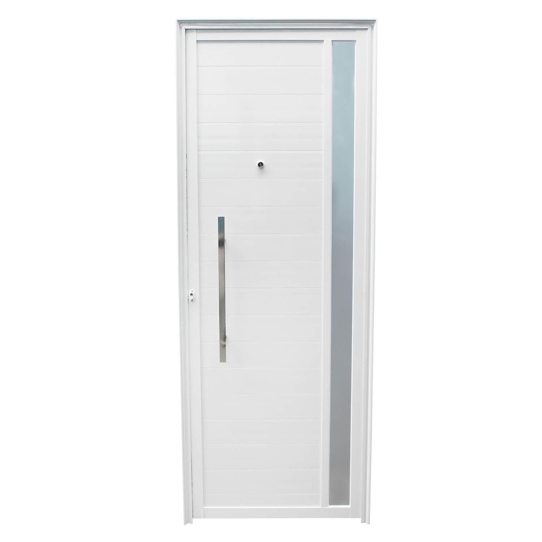 Porta De Abrir Lambri com Puxador Inox e Visor 90 x 210 (Lado Direito)  Home