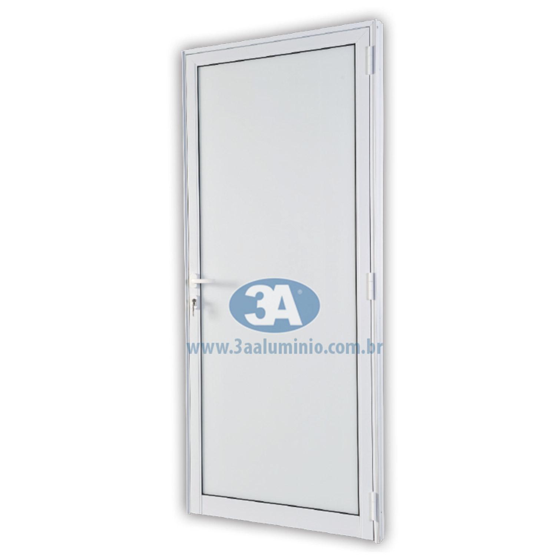 Porta de abrir Vetro 1 folha - Vidro Laminado Opaco Branco 8mm ( lado Esquerdo) 88 x 215 - Idea