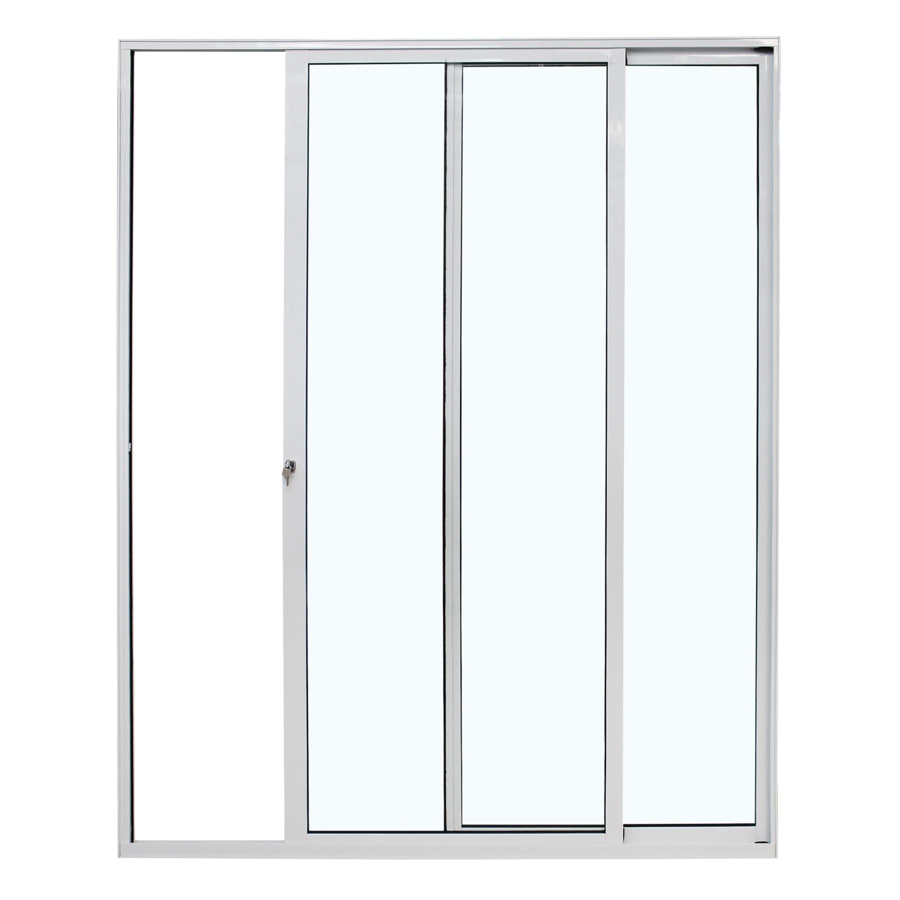 Porta de correr com 2 folhas móveis sem travessa, fecho de sobrepor e fechadura com chave - 2 vidros - 150x210 - Home