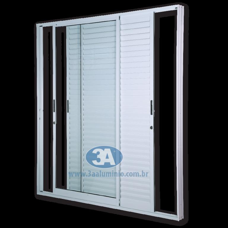 Porta Facile 3 folhas - 2 venezianas e 1 vidro - Com Fechadura e Fecho Concha - 200x215 - Idea