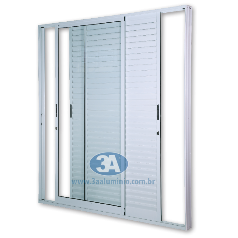 Porta Facile 3 folhas - 2 venezianas e 1 vidro - Sem Fechadura e Fecho Concha - 150x215 - Idea