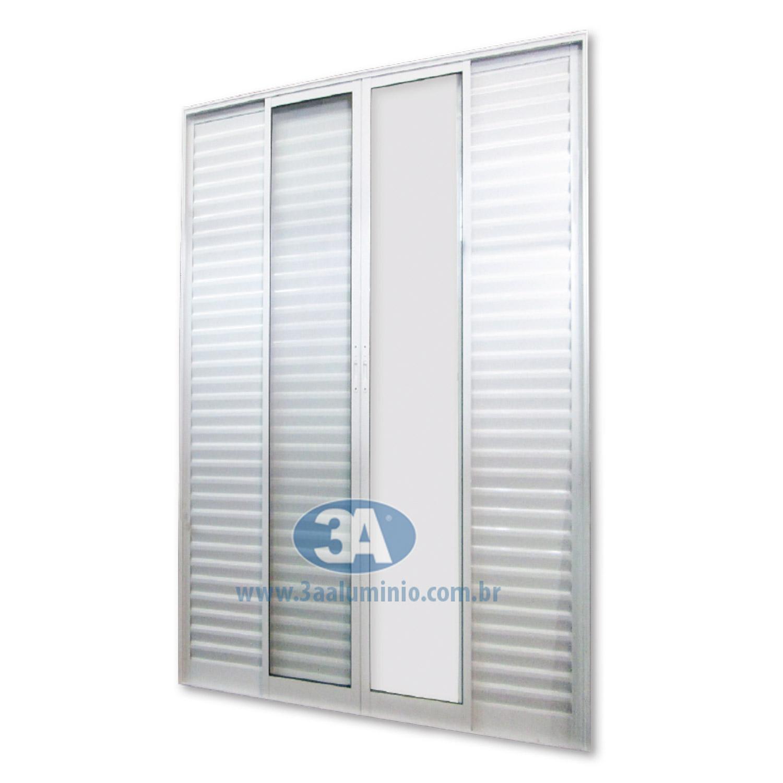 Porta Facile 6 folhas - 4 venezianas e 2 vidro - Sem Fechadura e Fecho Concha - 150x215 - Idea
