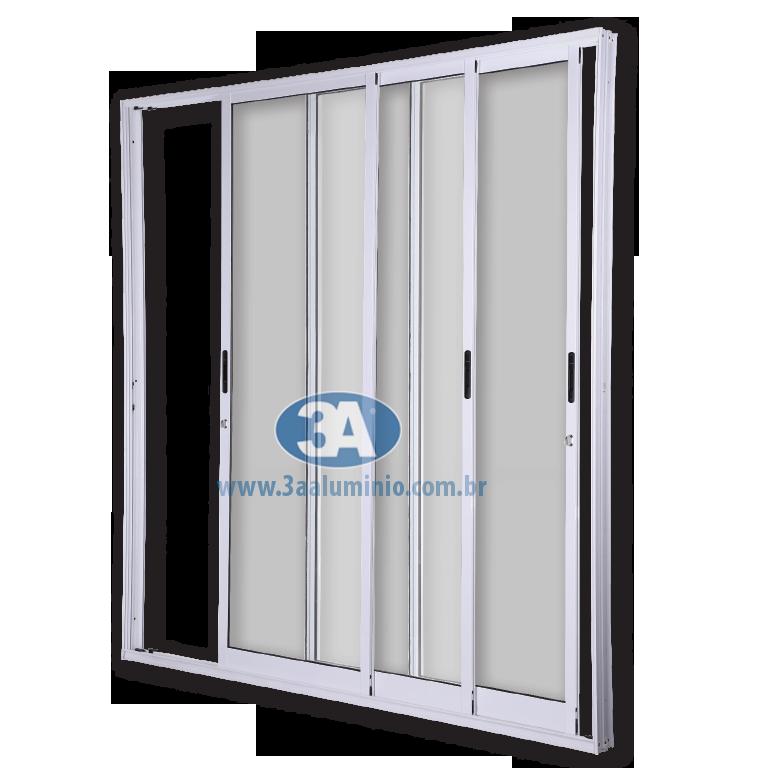 Porta Giardino 3 folhas Sem Travessa Com Fechadura e Fecho Concha - 3 vidros - 150x215 - Idea
