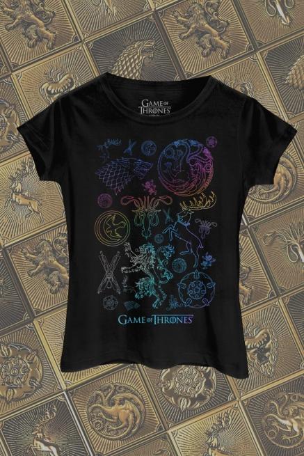 Camiseta Game of Thrones Brasões Colorful