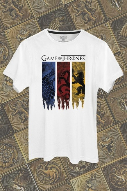 Camiseta Game of Thrones Stark, Targaryen e Lannister