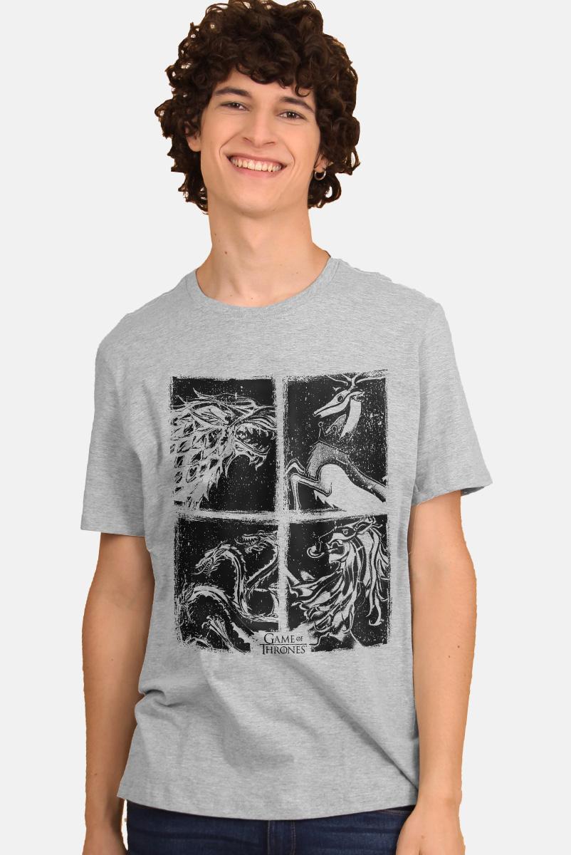 Camiseta Game of Thrones 10 Anos Stark, Lannister, Targaryen e Baratheon P&B