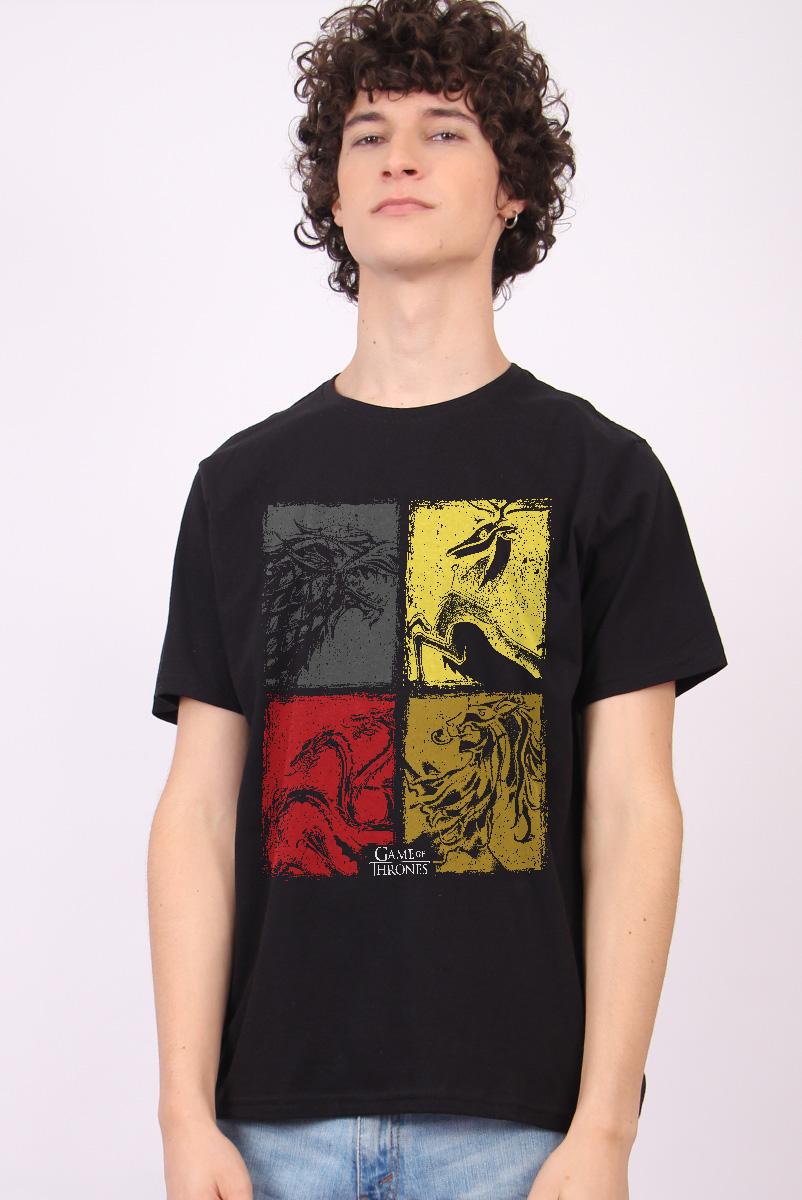 Camiseta Game of Thrones 10 Anos Stark, Lannister, Targaryen e Baratheon