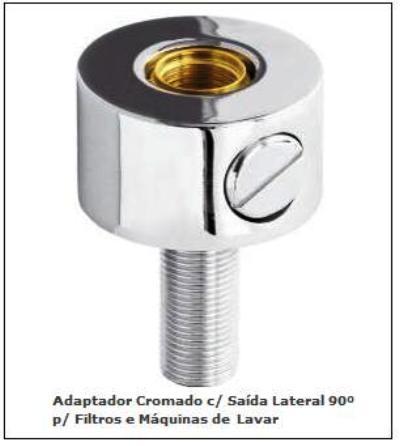 Adaptador Cromado Com Saída Lateral 90º para Filtros e Maquina de Lavar - 310101