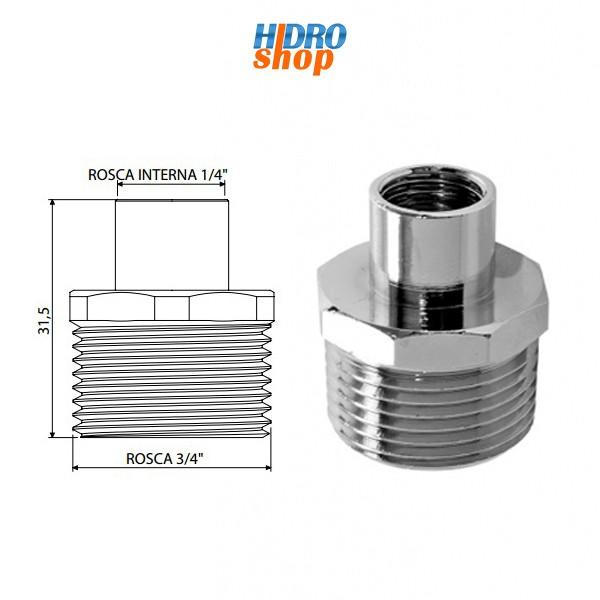 Adaptador Filtro 3/4 (m) x 1/4 (f) Cromado - 310132