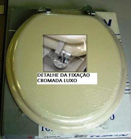 Assento Oval Universal Creme Ferragem Cromada Luxo - 05274