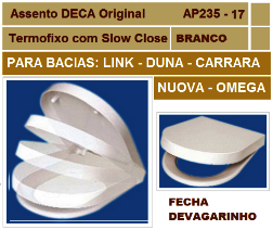 ASSENTO SANITARIO DECA AP235 LINK, CARRARA, DUNA, NUOVA, OMEGA SLOW CLOSE