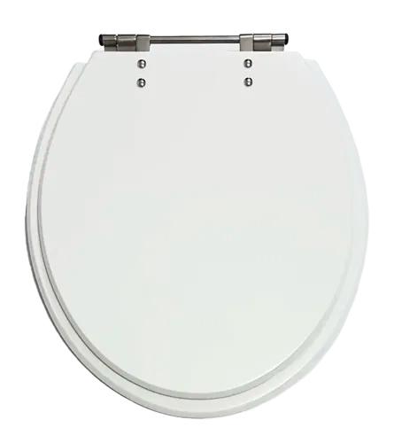 Assento Sanitário Luxo Em Poliéster Branco/Gelo Fixação Inox Cromado - F01RAVENA
