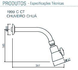 Chuveiro Deca Chua Com Tubo Cromado - 1999CCT