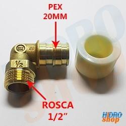 Cotovelo 90 Rosca Macho P/ Pex-B Latão 20mm X 1/2