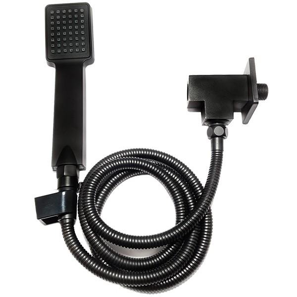 Desviador Para Chuveiro Quadrado Preto Fosco Com Flexível Registro E Ducha Manual - 191204PTK100
