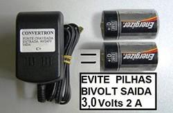 EVITE PILHAS FONTE PARA AQUECEDORES A PILHA 3,0 V ENTRADA BIVOLT