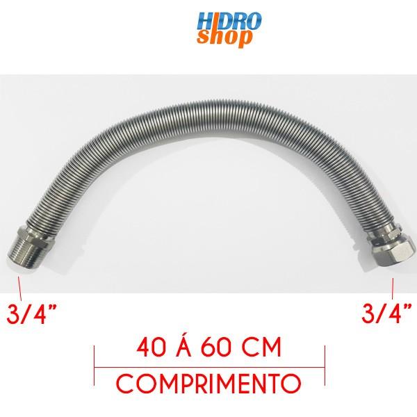 Flexível 400mm Alta Vazão 3/4 Para Aquecedores Á Gás - FAE3440MF