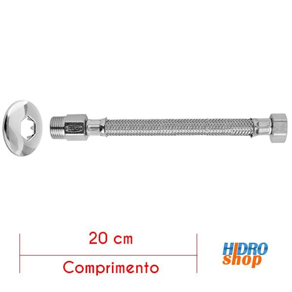 Ligação Flexível Malha de Aço para Água MxF 20cm - 250110