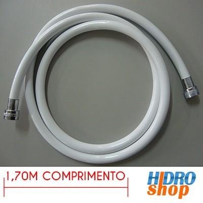 MANGUEIRA PLÁSTICA CARDAL BRANCA C/ LUVAS CROMADAS 1,7M 1/2