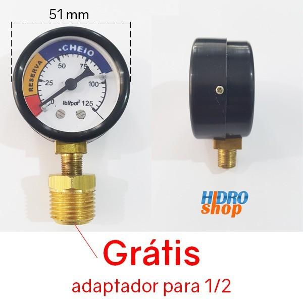 Manômetro Gas Glp Vertical 0 a 125 R1/8 Com Adaptador de 1/2