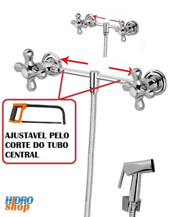 Misturador Externo Ajustável Ducha Higiênica Cromado - 23009293