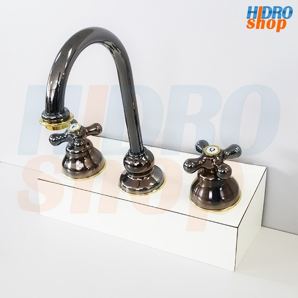 Misturador Lavatório Belle Epoque Onix Com Dourado - 1877S52
