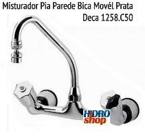 Misturador Pia Parede Bica Movél Prata Deca 1258.C50
