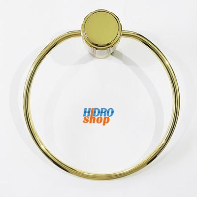 Porta Toalha Argola Deca Maxim Dourado Com Bege - 2050E75BEDO