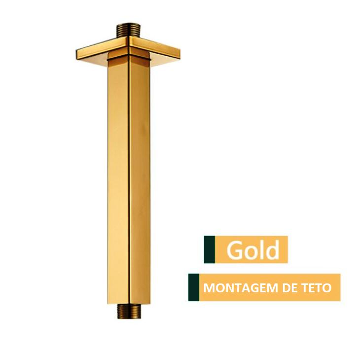 Tubo Chuveiro Teto Quadrado Gold 200mm  1/2