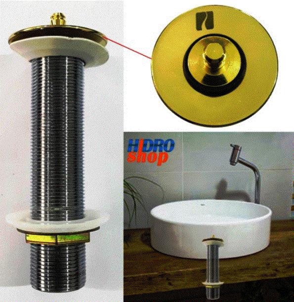 Válvula de lavatório sem ladrão longa GOLD (150mm) - 887GL1