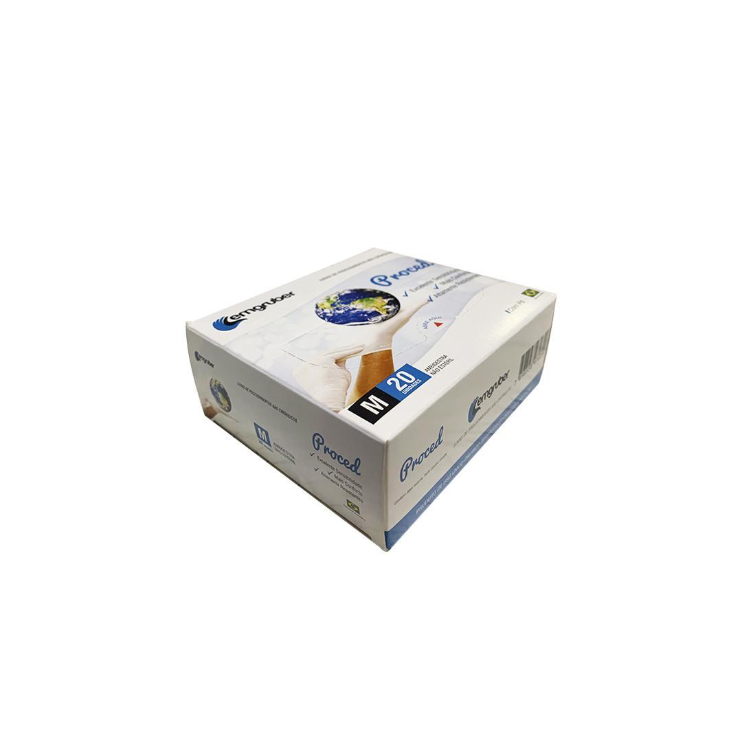 LUVA PROC N ESTERIL C/ PO LATEX TAM: M CX C/20 - LEMGRUBER