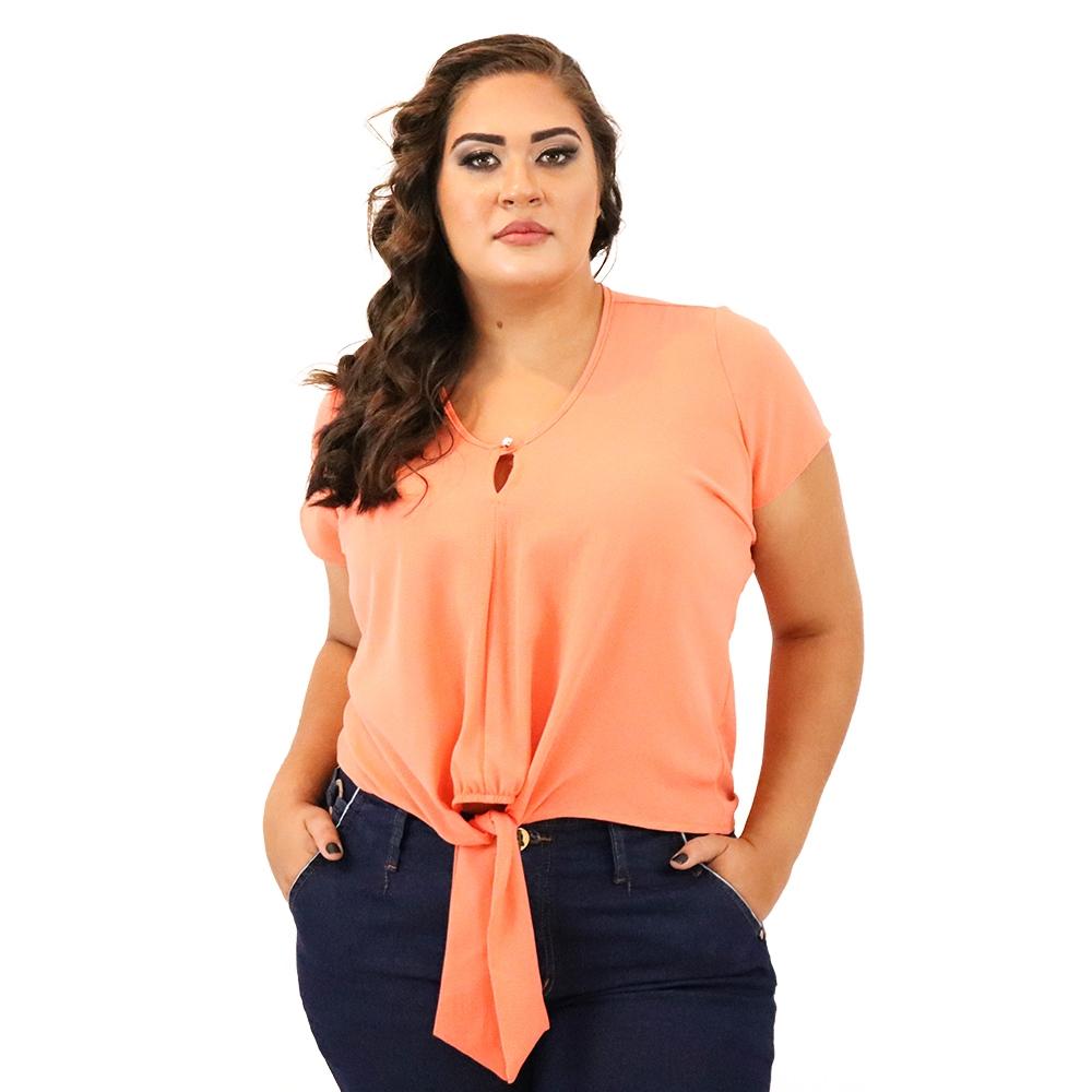 Blusa Plus Size com Amarração na Barra