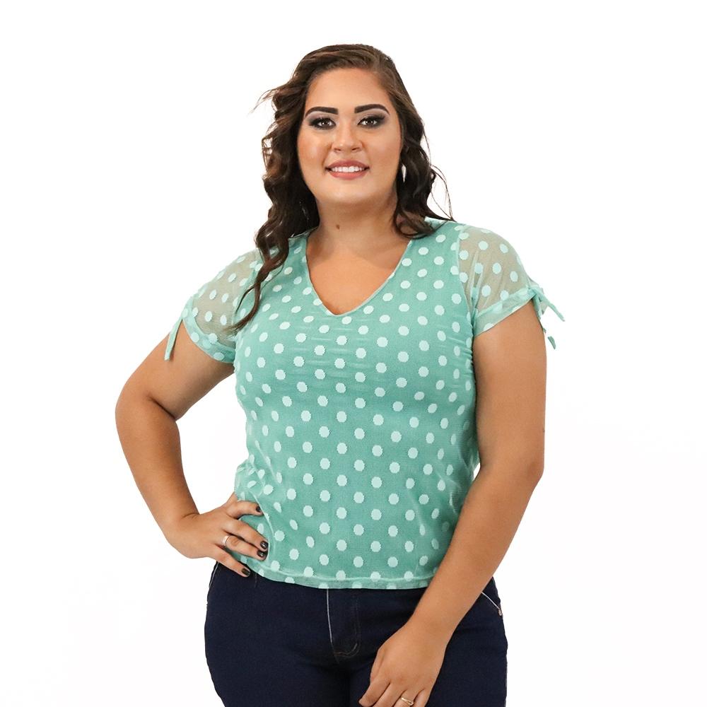 Blusa Plus Size de Tule Forrada