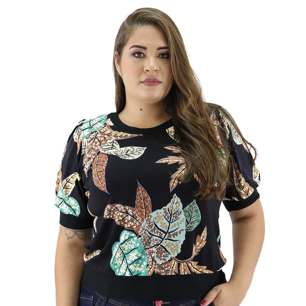 Blusa Plus Size de Viscolycra com Ombreira