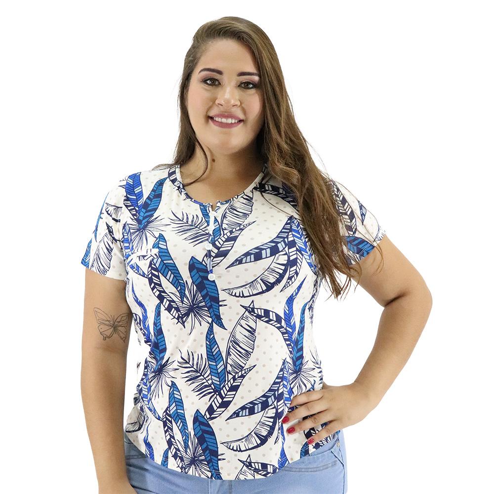 Blusa Plus Size com Botões Decorativos