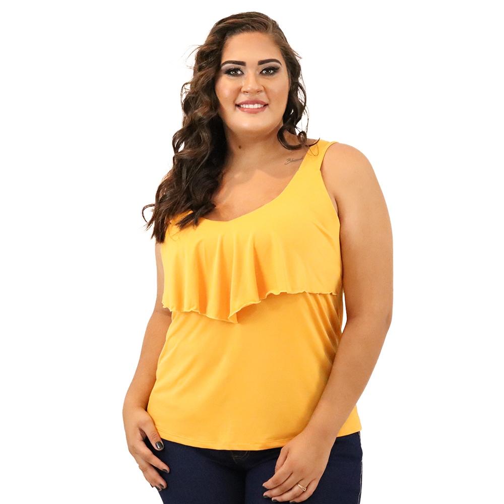 Camiseta Plus Size Alça Larga e Babado