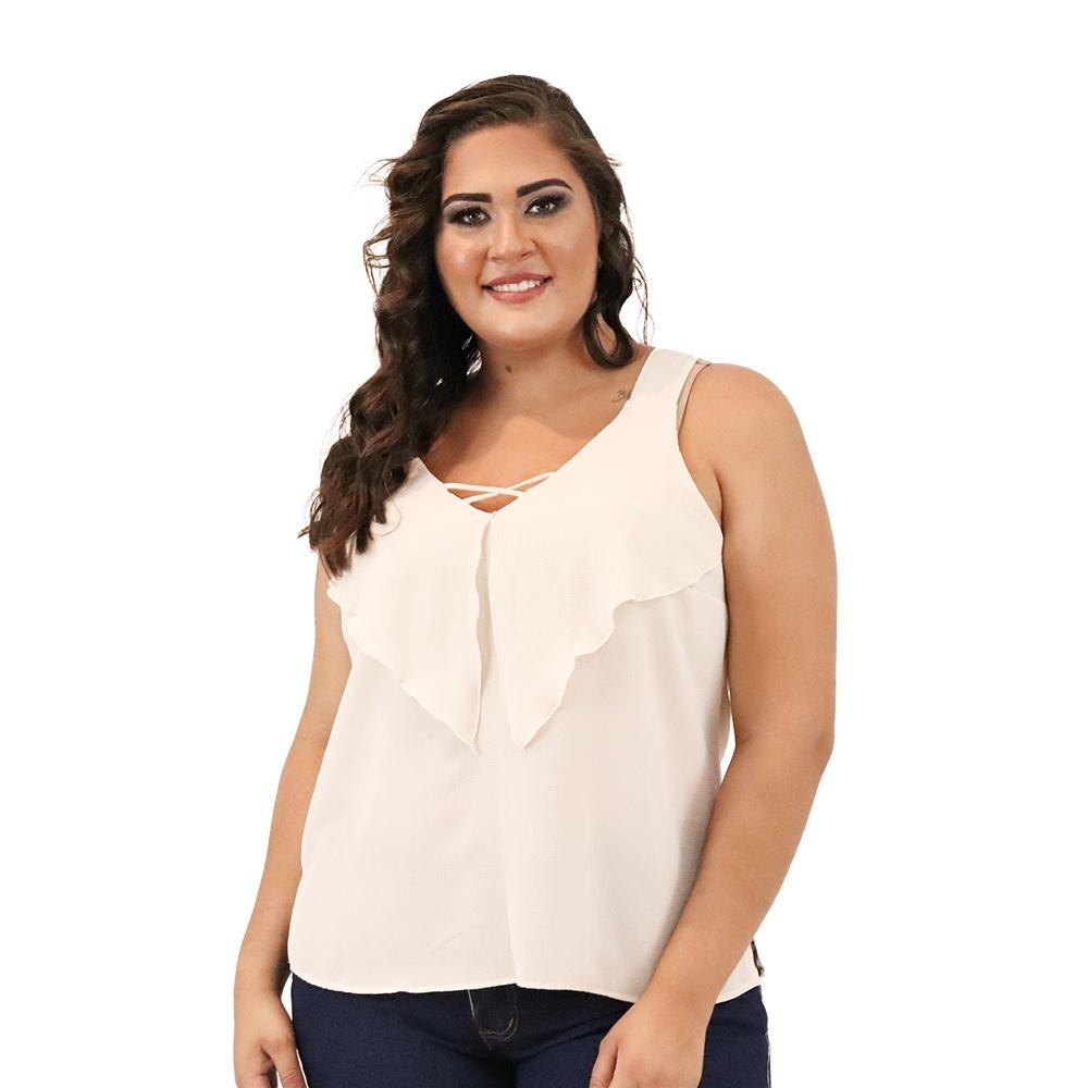 Camiseta Plus Size  Crepe com Babado