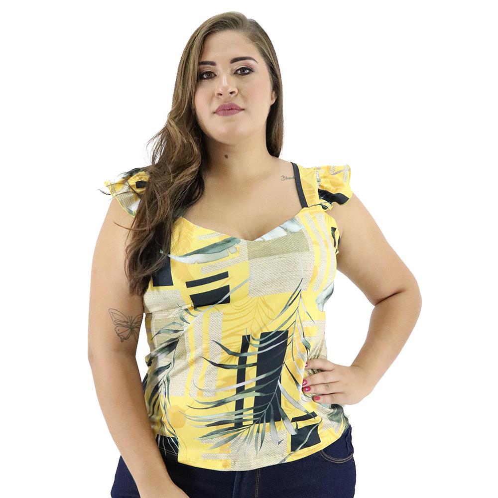 Camiseta Plus Size Suplex com Alça Larga