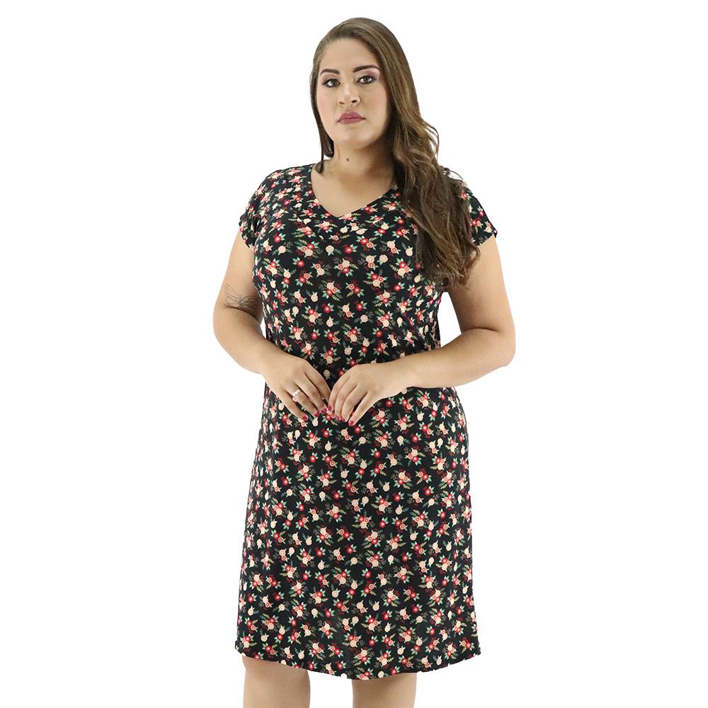 Vestido Plus Size Gola V Liganete