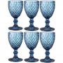 Conjunto com 6 Taças De Vidro Para Água Lyor Bico De Abacaxi Azul 325ml