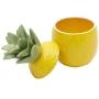 Abacaxi Decorativo de Cerâmica com Tampa Lyor Amarelo/Verde