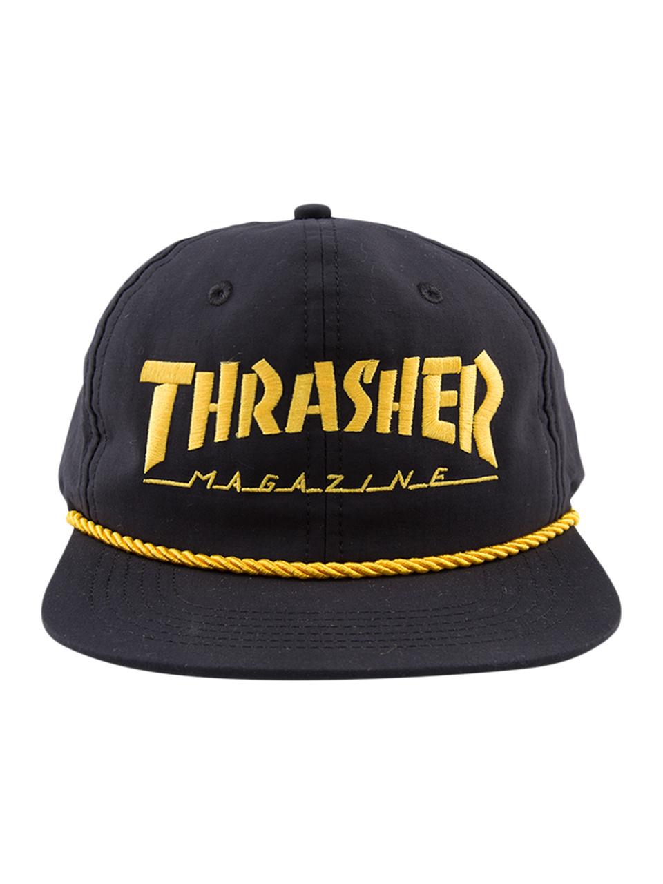 Boné Thrasher Snapback Mag Logo Rope Preto / Amarelo