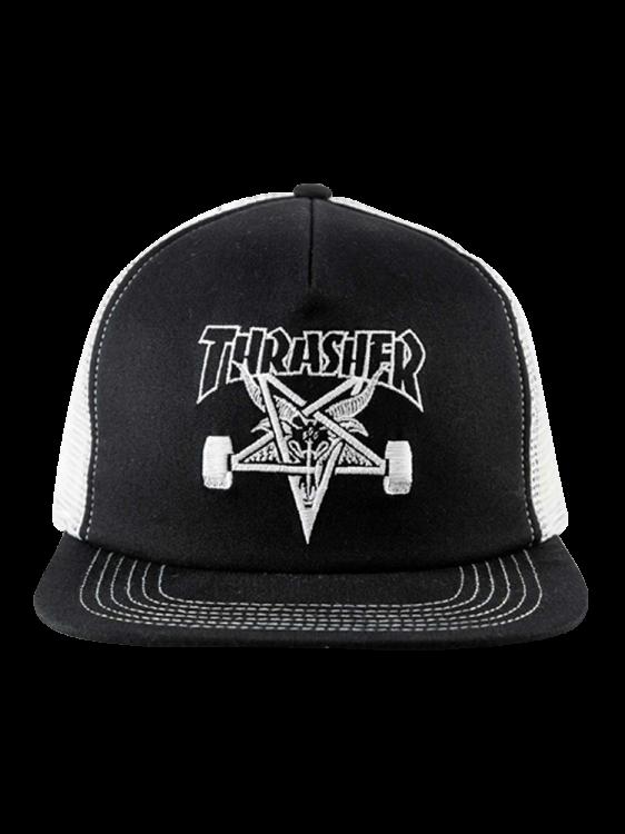 Boné Thrasher Snapback Skate Goat Mesh Preto / Branco