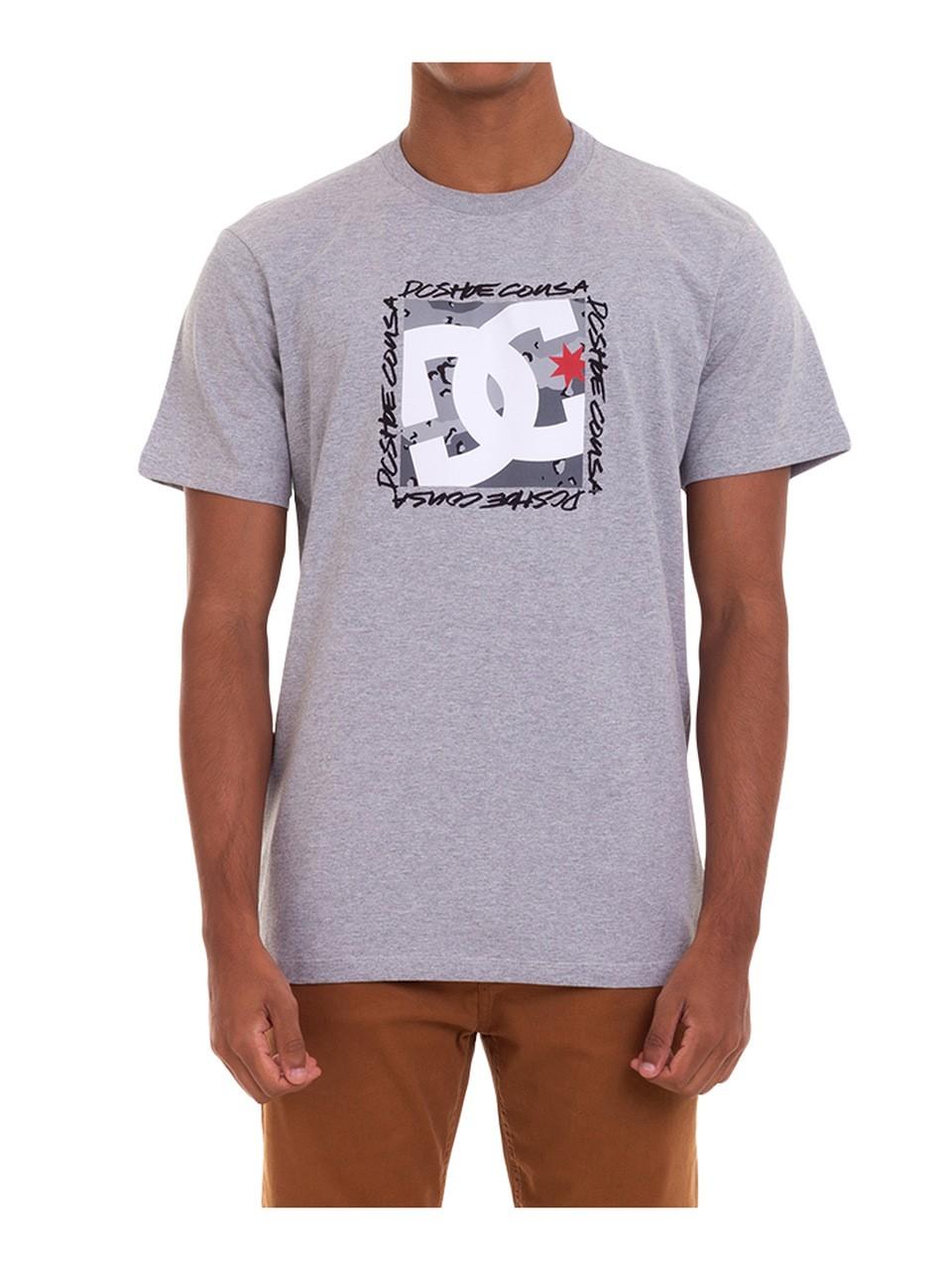 Camiseta DC Shoes Big Square Cinza Mescla