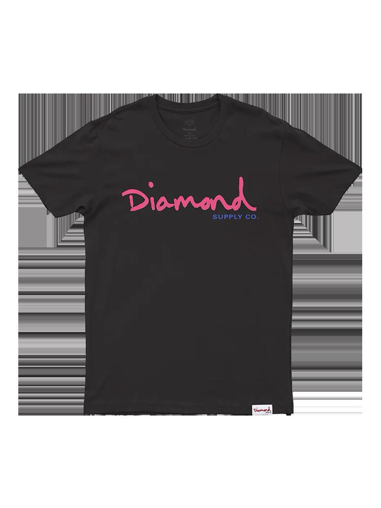 Camiseta Diamond Og Script Preta Logo Rosa