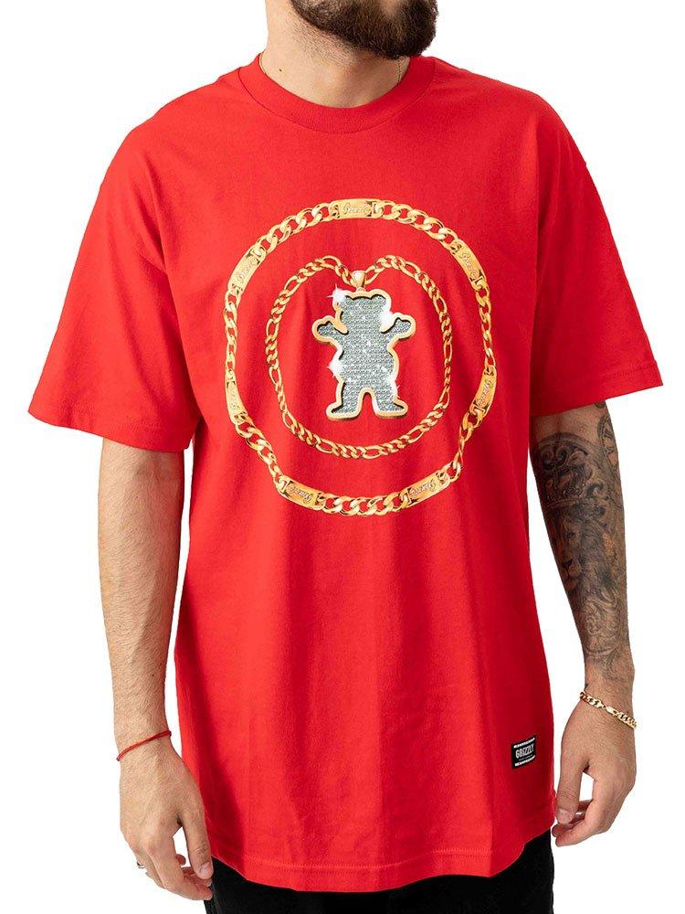 Camiseta Grizzly Chain Tee Vermelha