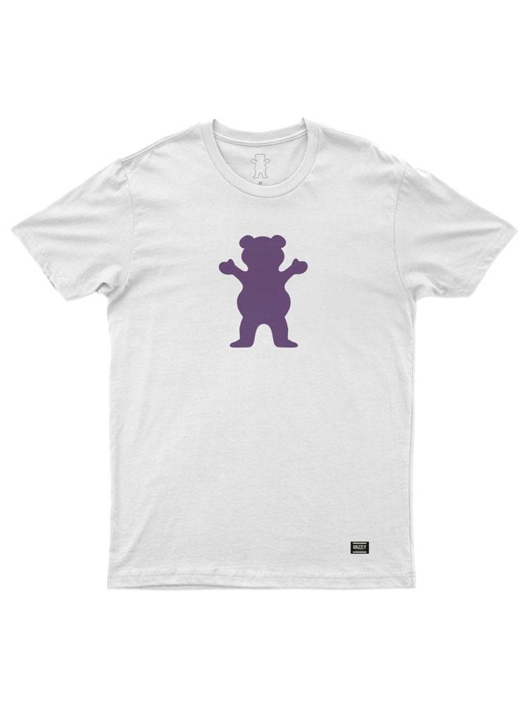 Camiseta Grizzly OG Bear Branca Logo Roxo