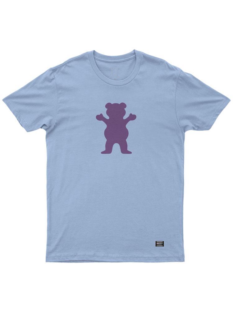 Camiseta Grizzly OG Bear Powder Azul Logo Roxo